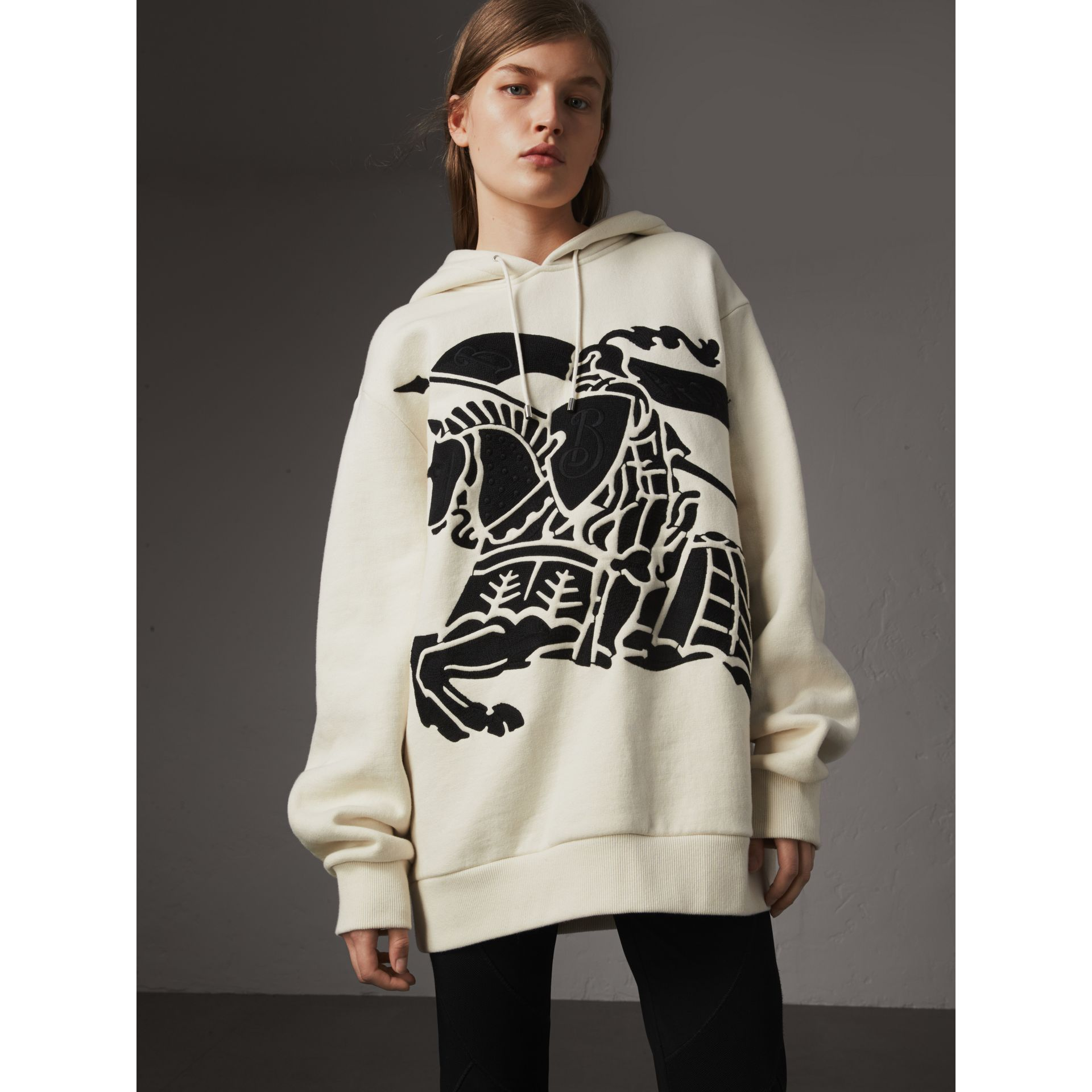 Equestrian Knight Device Cotton Hooded Sweatshirt in Natural White - Women | Burberry - gallery image 0