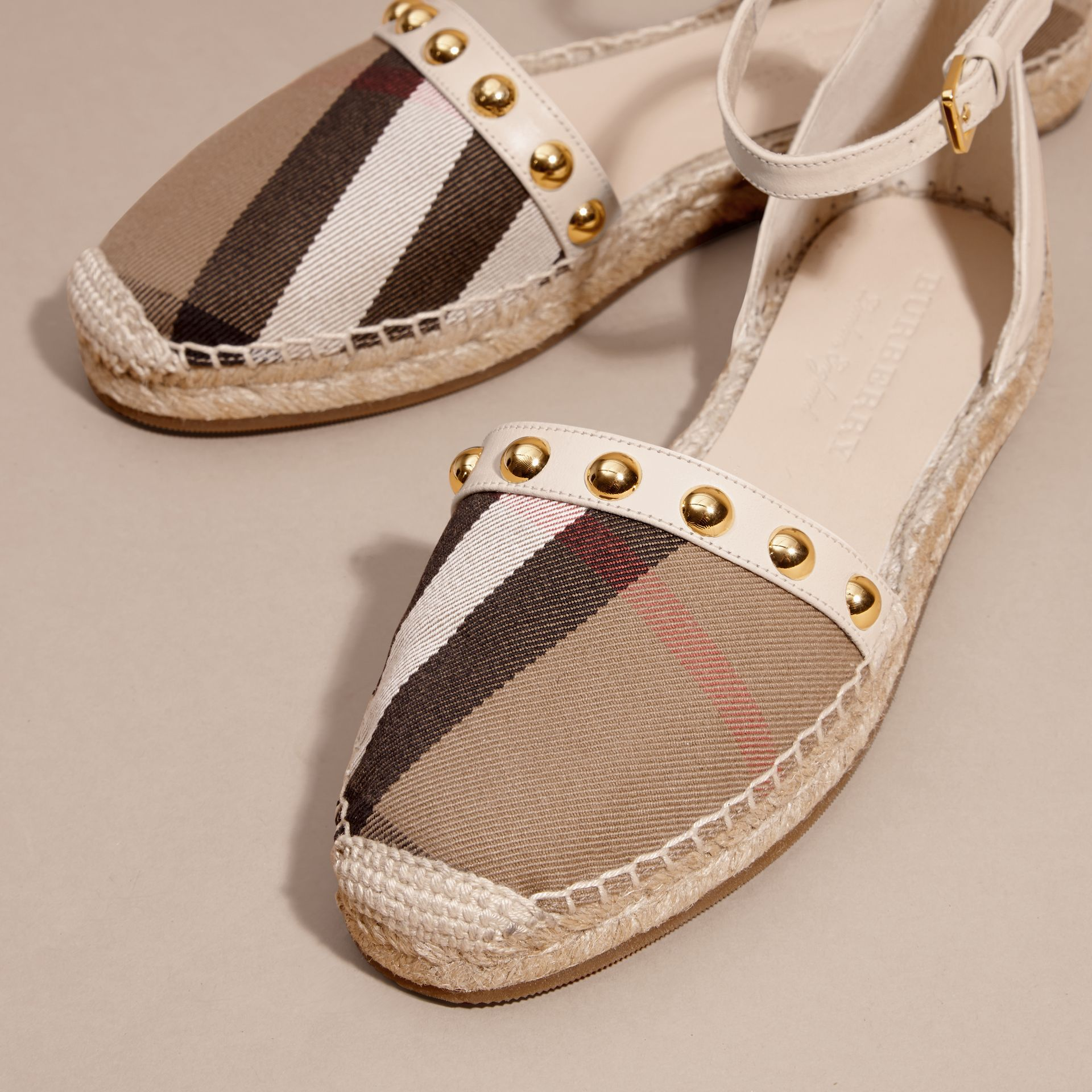 Cream Studded Leather and House Check Espadrille Sandals Cream - gallery image 3