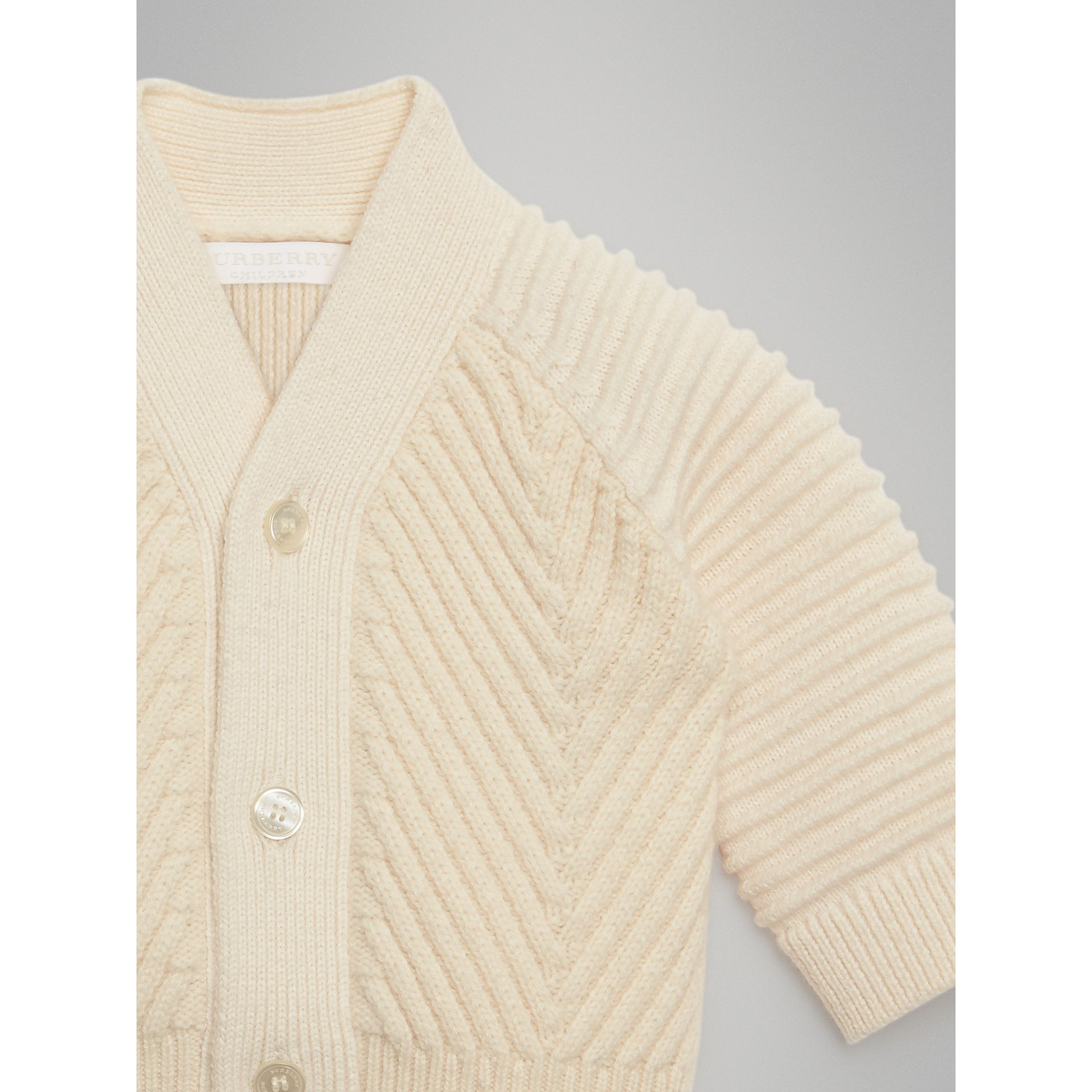 Rib Knit Wool Cashmere Cardigan in Ivory | Burberry - gallery image 4