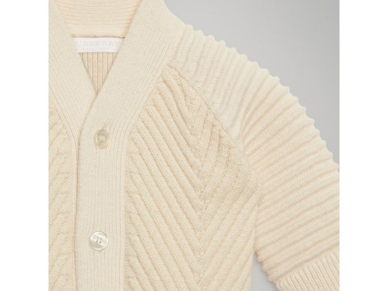 Rib Knit Wool Cashmere Cardigan in Ivory | Burberry - cell image 4