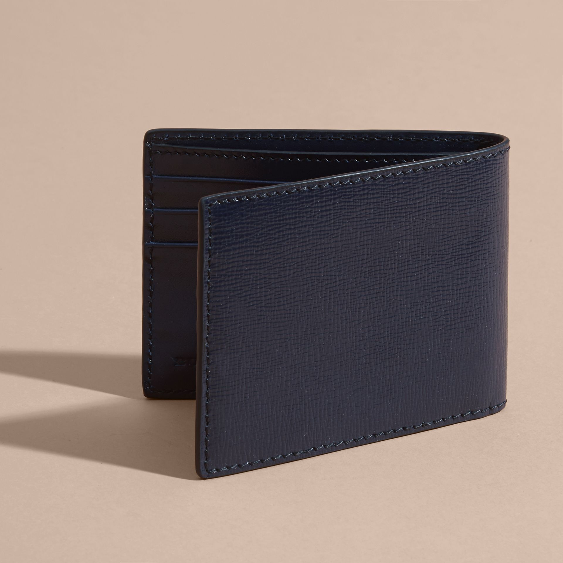 London Leather Slim Folding Wallet Dark Navy - gallery image 3