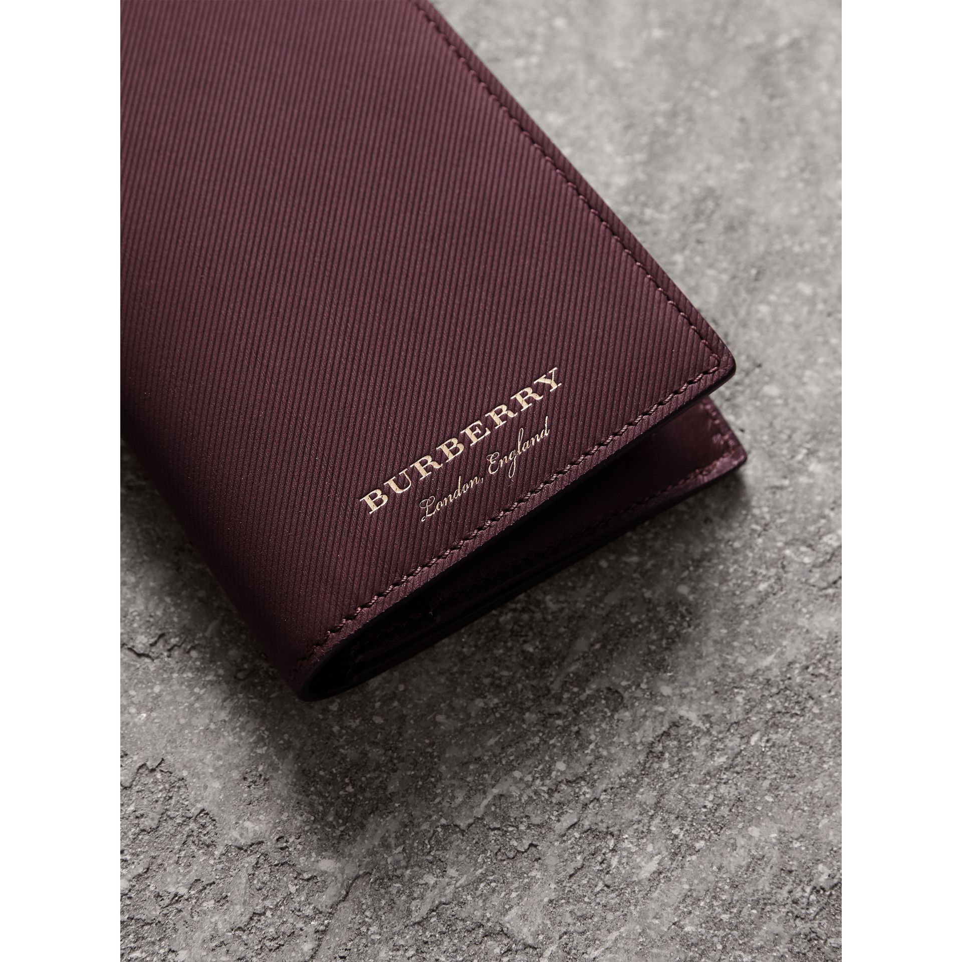 Trench Leather Continental Wallet in Wine - Men | Burberry - gallery image 2