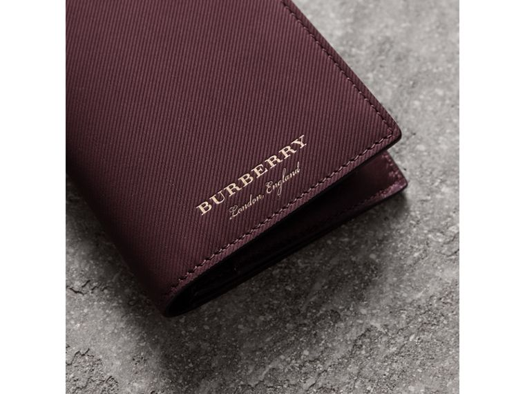 Trench Leather Continental Wallet in Wine - Men | Burberry - cell image 1