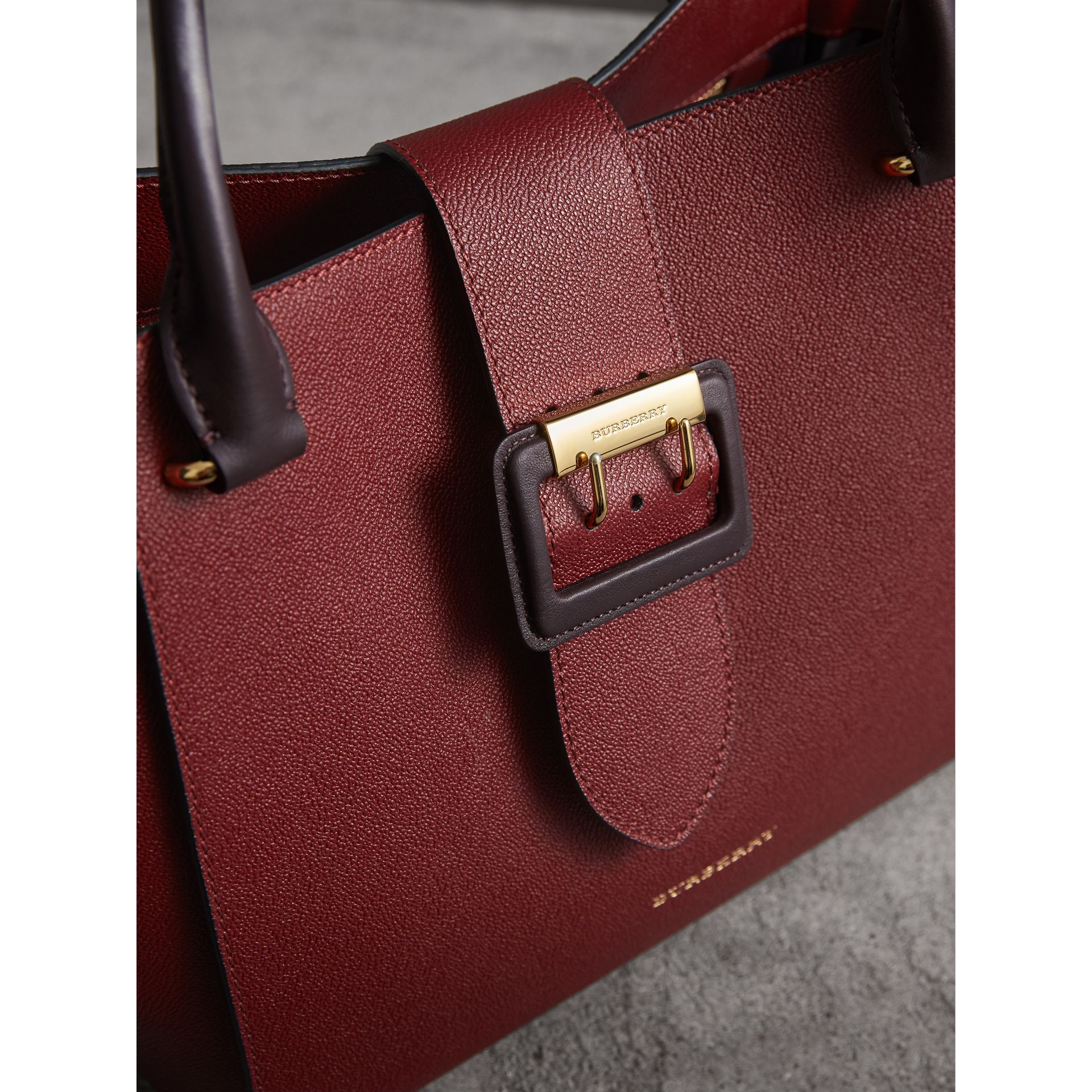 The Medium Buckle Tote in Two-tone Grainy Leather in Burgundy - Women | Burberry - gallery image 1