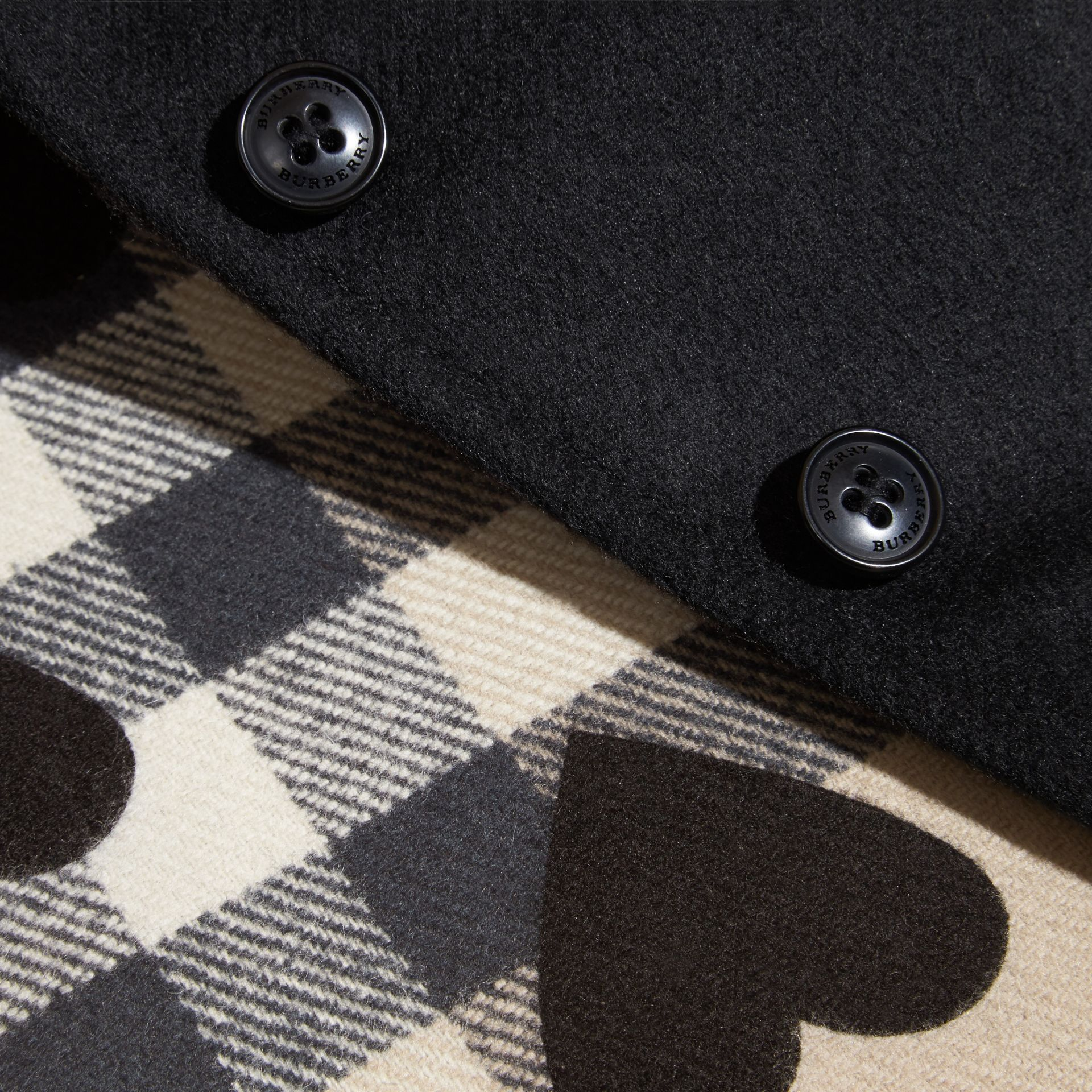 Black Heart and Check-lined Hooded Wool Cape - gallery image 2