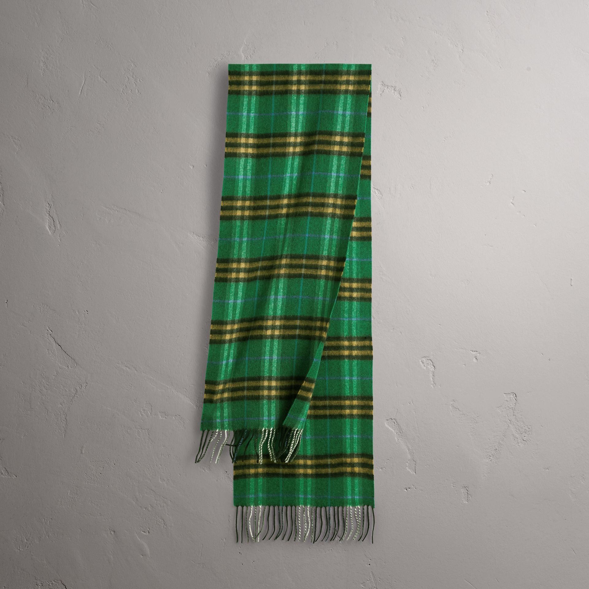 Check Cashmere Scarf in Forest Green | Burberry Australia - gallery image 0
