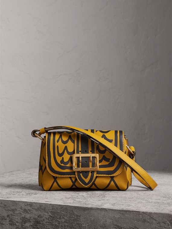 The Buckle Crossbody Bag in Trompe L'oeil Leather in Bright Straw