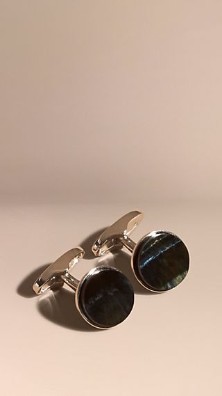 Tiger's Eye Stone Round Cufflinks