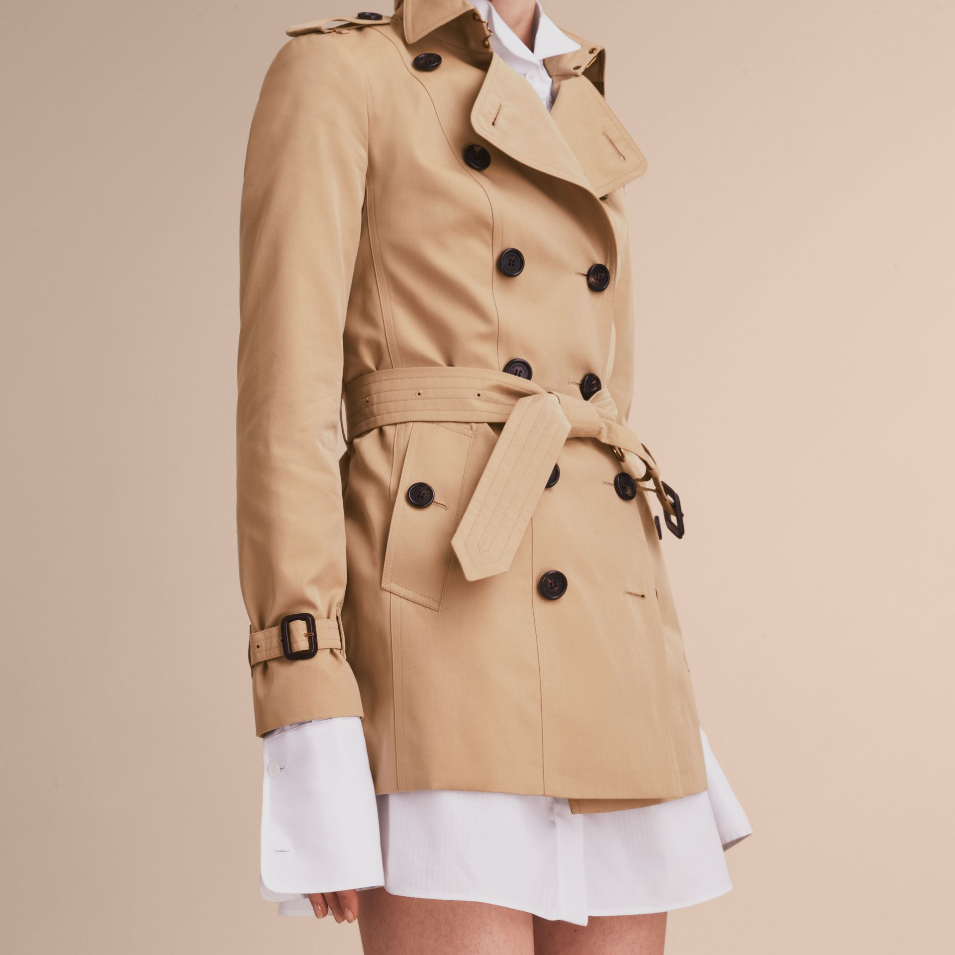 Honey The Sandringham – Short Heritage Trench Coat Honey - gallery image 7