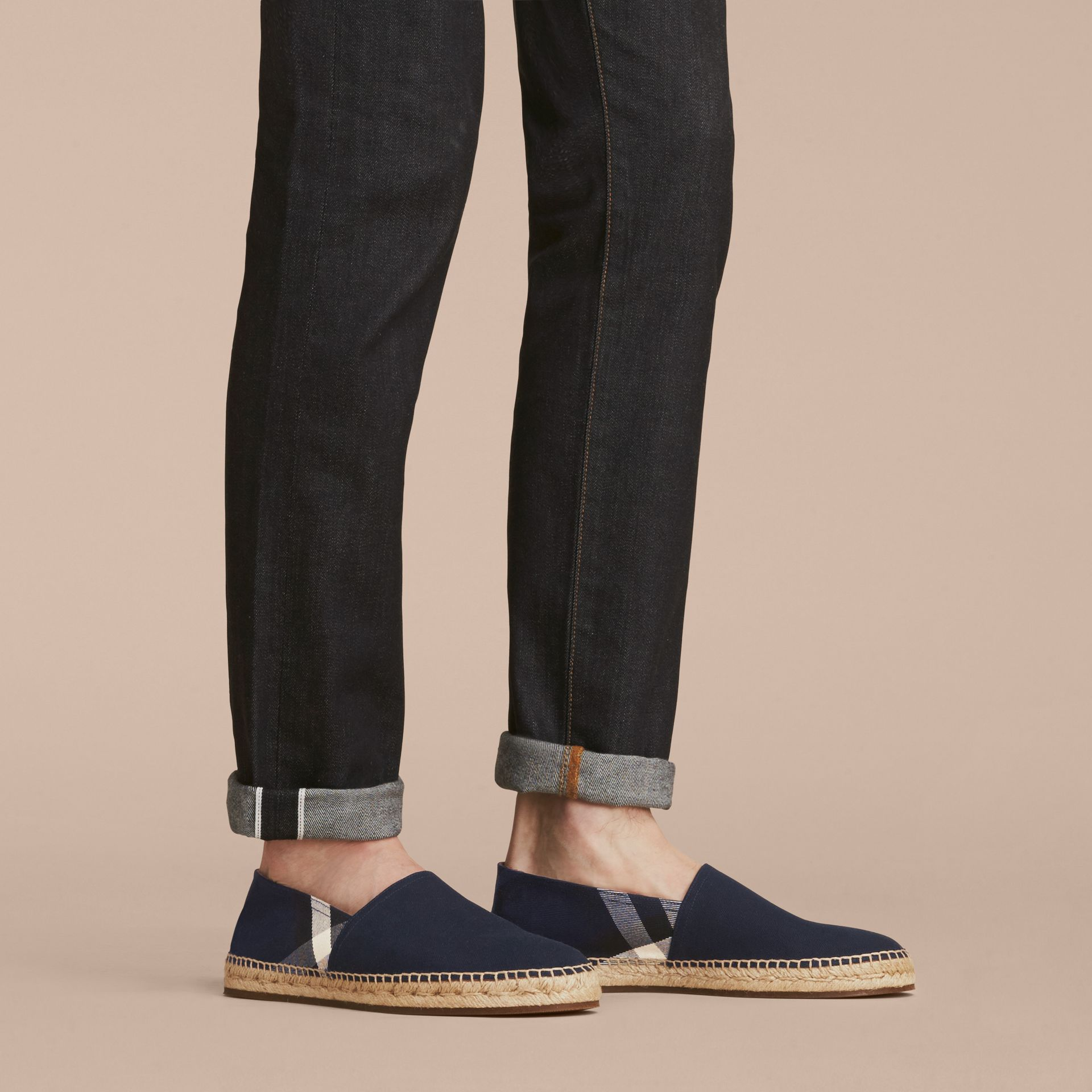 Overdyed House Check and Cotton Canvas Espadrilles - Men | Burberry Singapore - gallery image 3