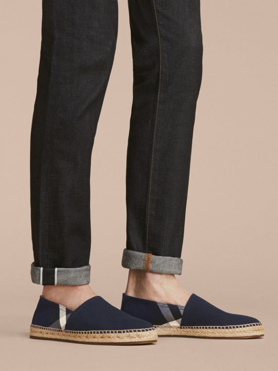 Overdyed House Check and Cotton Canvas Espadrilles in Indigo Blue - Men | Burberry Canada - cell image 2
