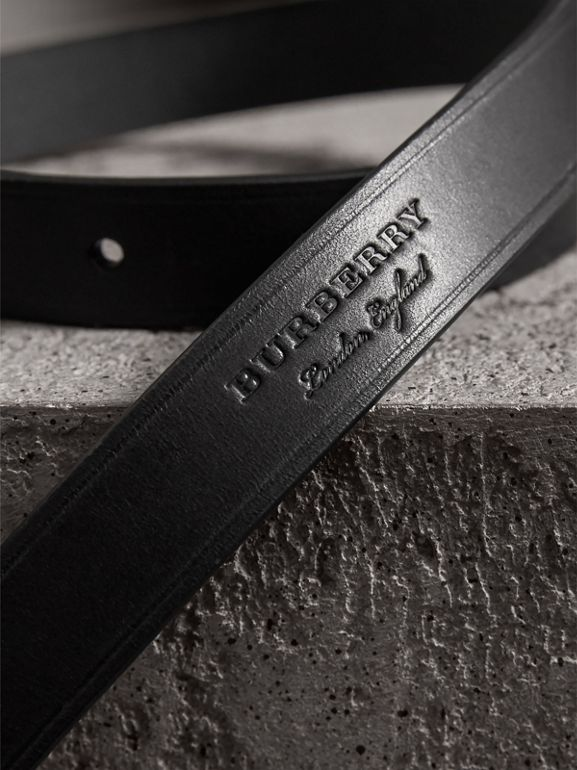 Brass Plaque Buckle Embossed Bridle Leather Belt in Black - Women | Burberry Canada - cell image 1