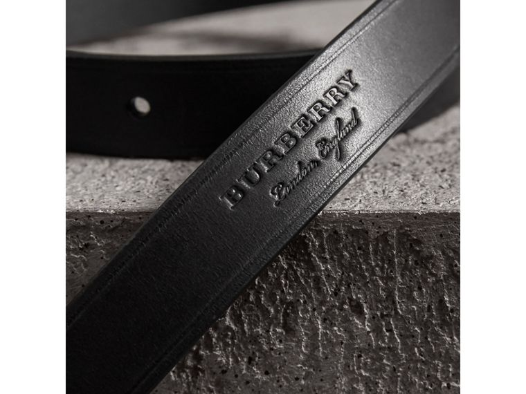 Brass Plaque Buckle Embossed Bridle Leather Belt in Black - Women | Burberry - cell image 1