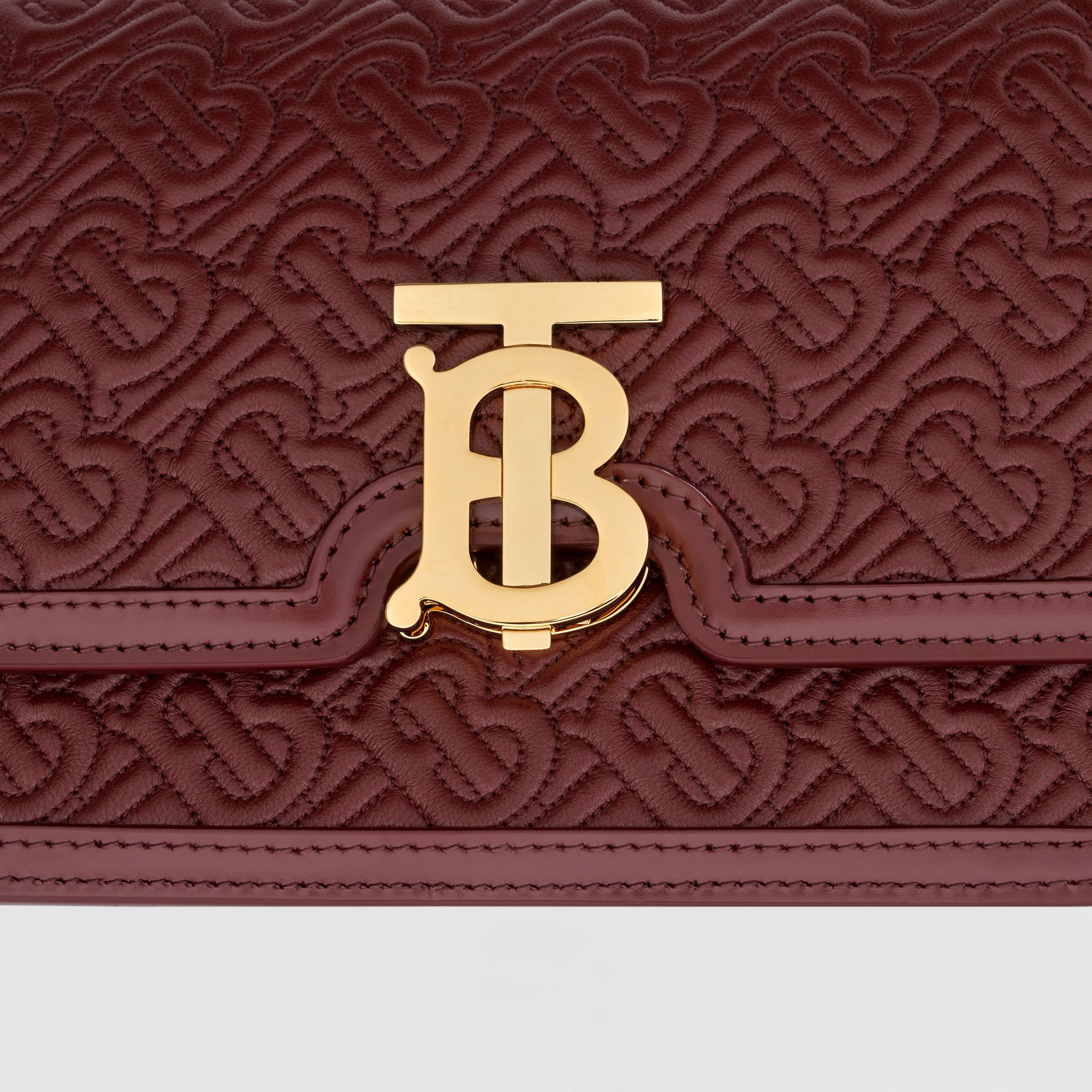 Small Quilted Monogram Lambskin TB Bag in Oxblood - Women | Burberry United Kingdom - gallery image 1