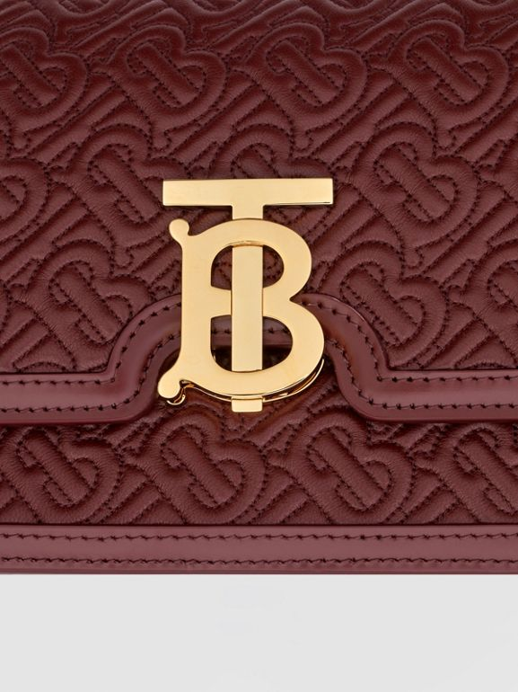 Small Quilted Monogram Lambskin TB Bag in Oxblood - Women | Burberry United Kingdom - cell image 1