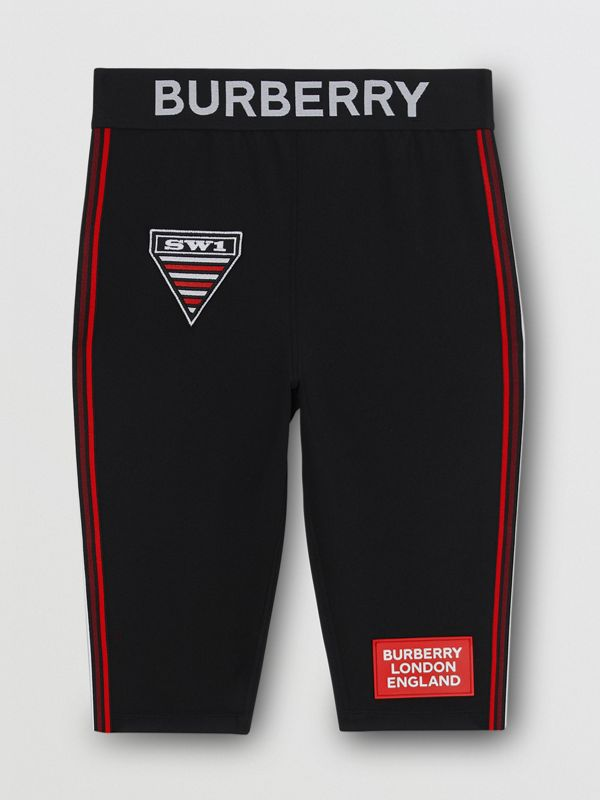 Logo Graphic Stretch Jersey Cycling Shorts in Black - Women | Burberry - cell image 3