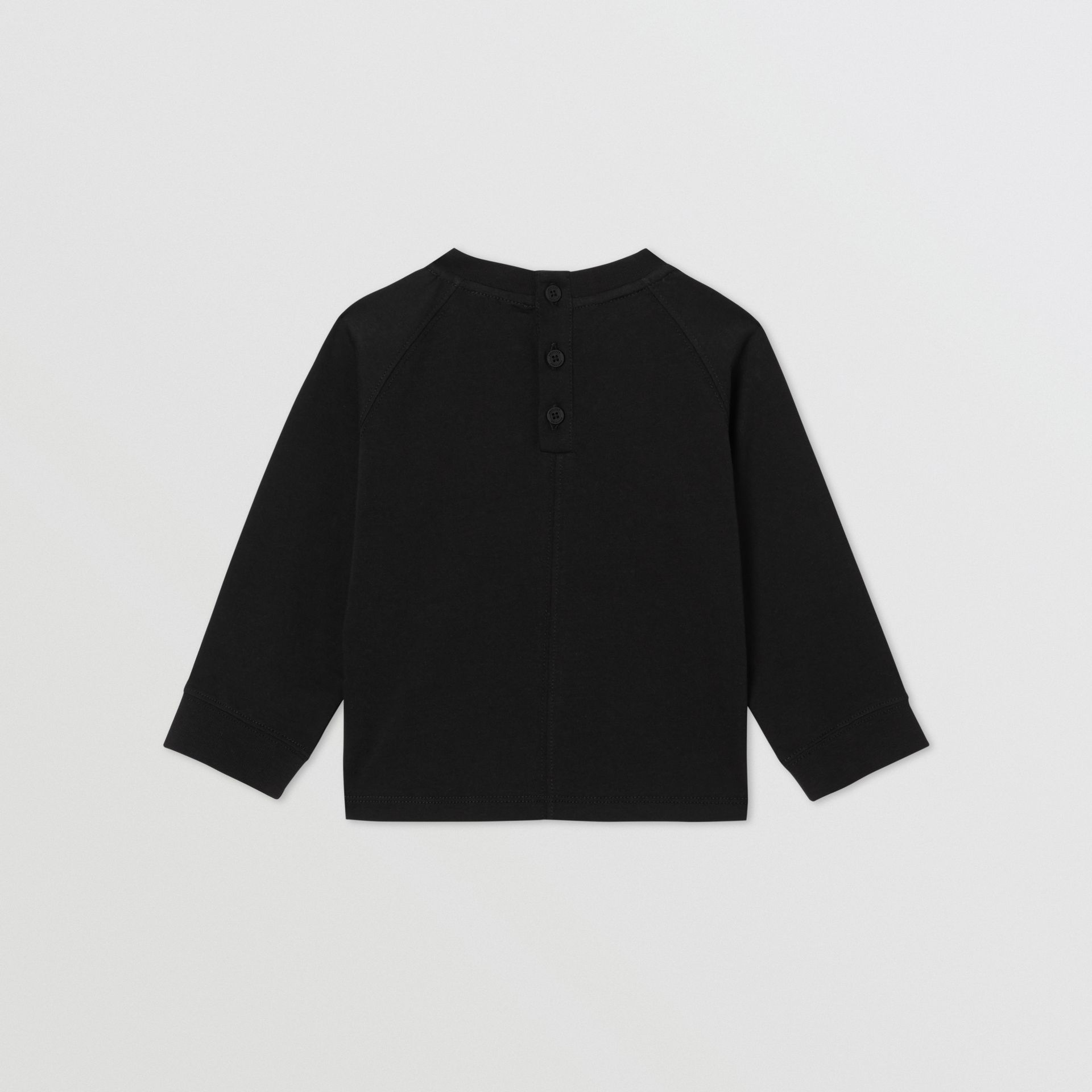 Long-sleeve Logo Print Cotton Top in Black - Children | Burberry United Kingdom - gallery image 4