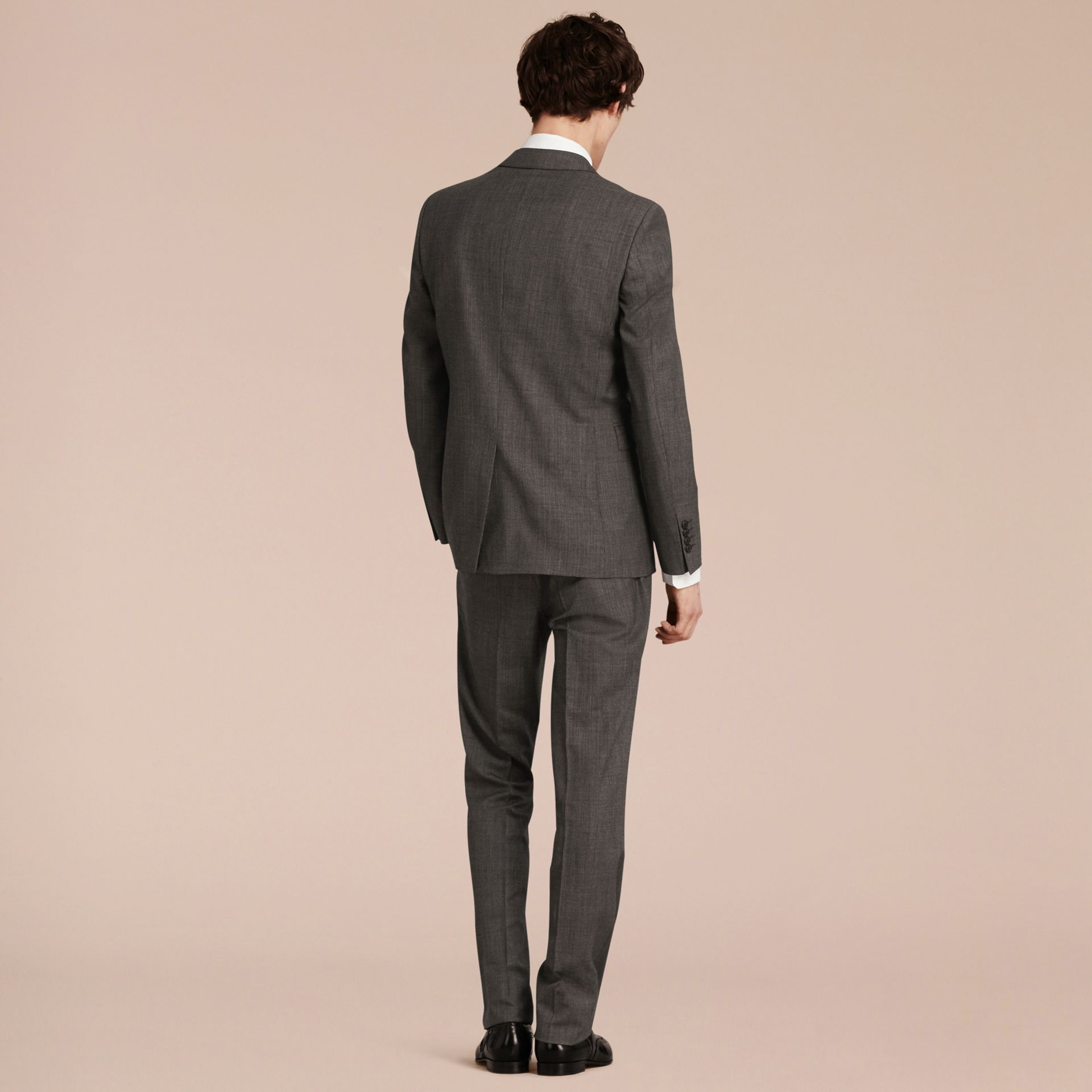 Mid grey melange Modern Fit Wool Cashmere Microcheck Part-canvas Suit - gallery image 3