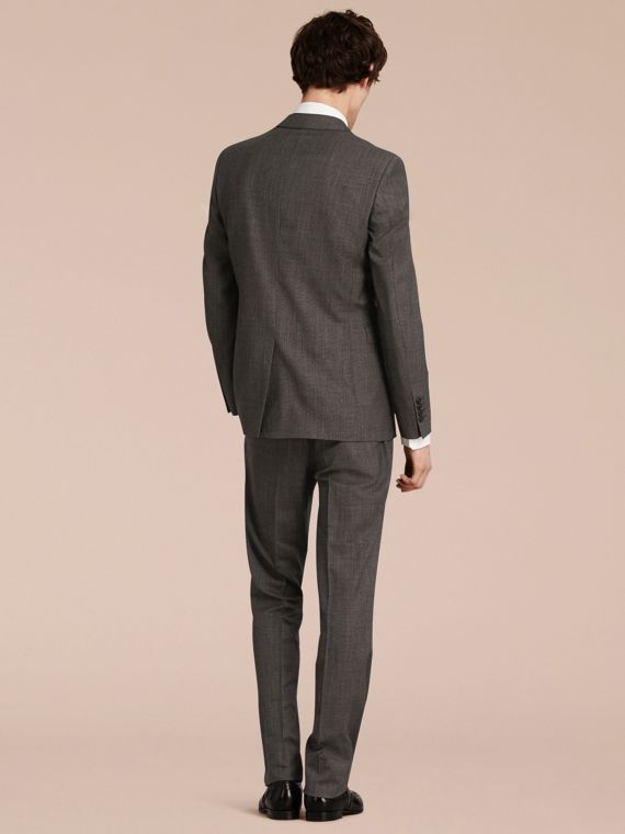 Mid grey melange Modern Fit Wool Cashmere Microcheck Part-canvas Suit - cell image 2
