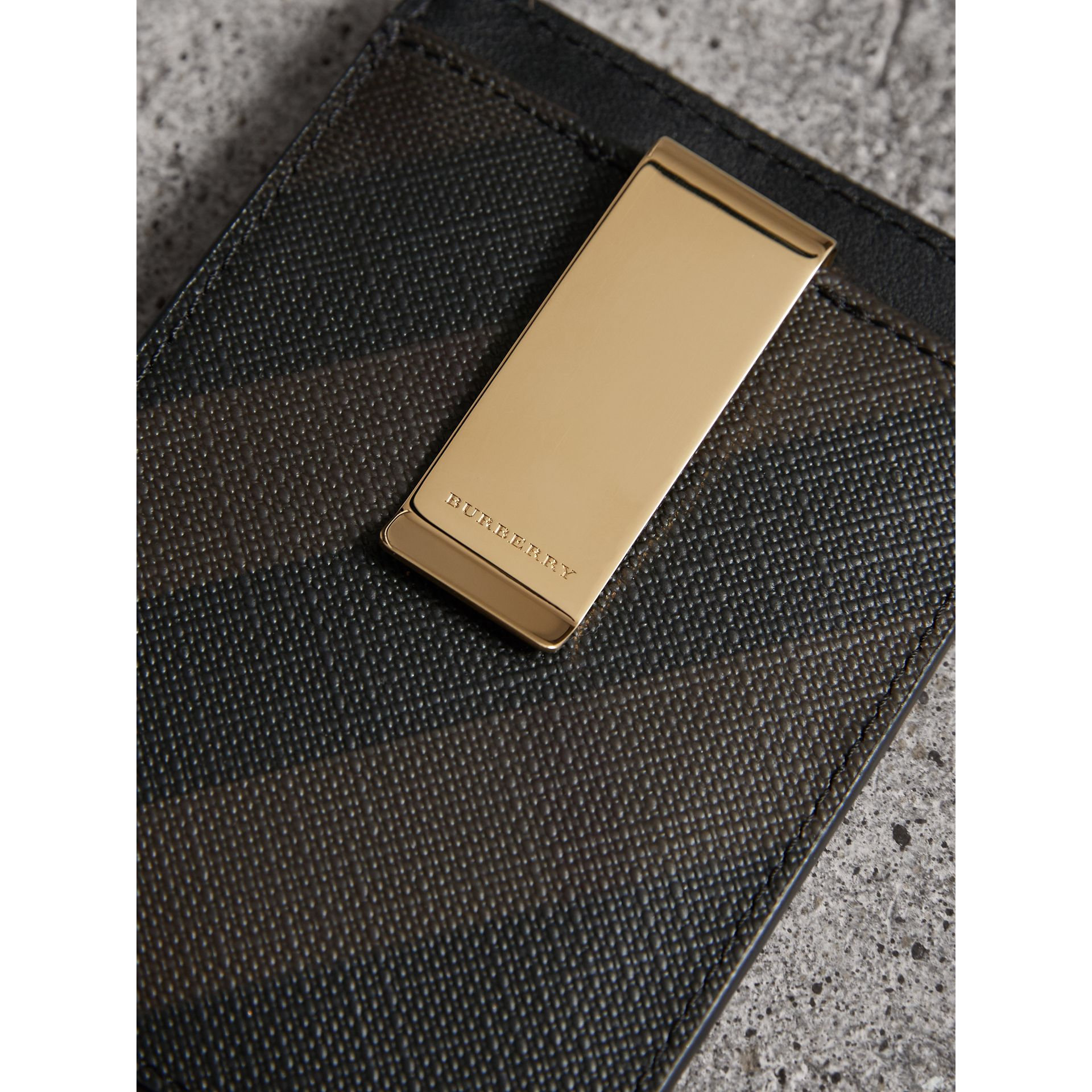 London Check Money Clip Card Case in Chocolate/black - Men | Burberry - gallery image 2