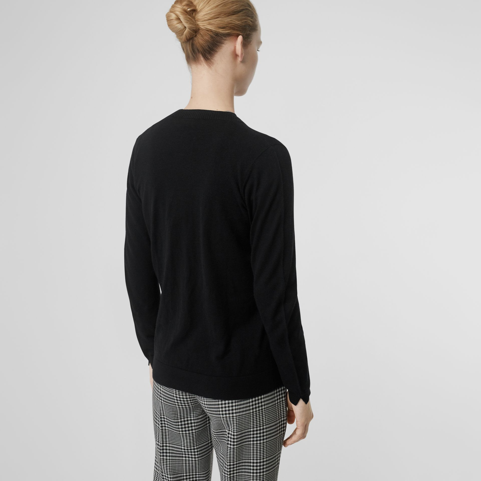 Rib Knit Cashmere Cardigan in Black - Women | Burberry - gallery image 2
