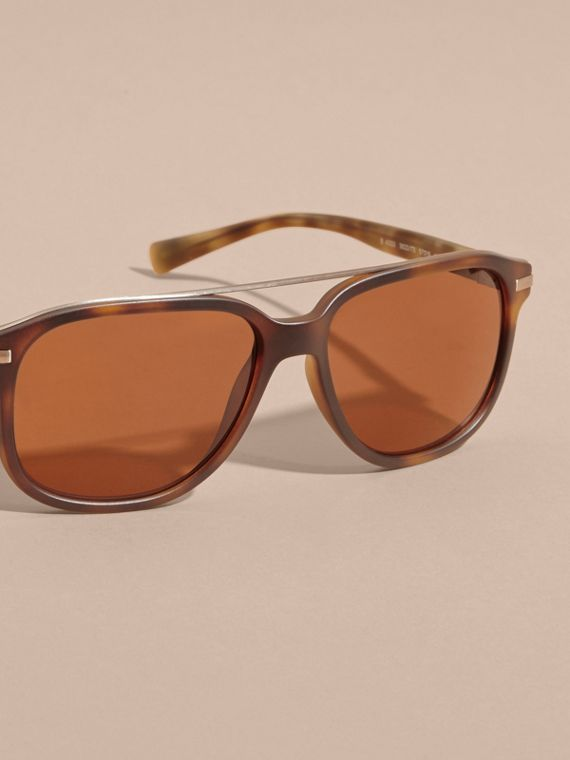 Square Frame Sunglasses in Tortoise Shell - cell image 2