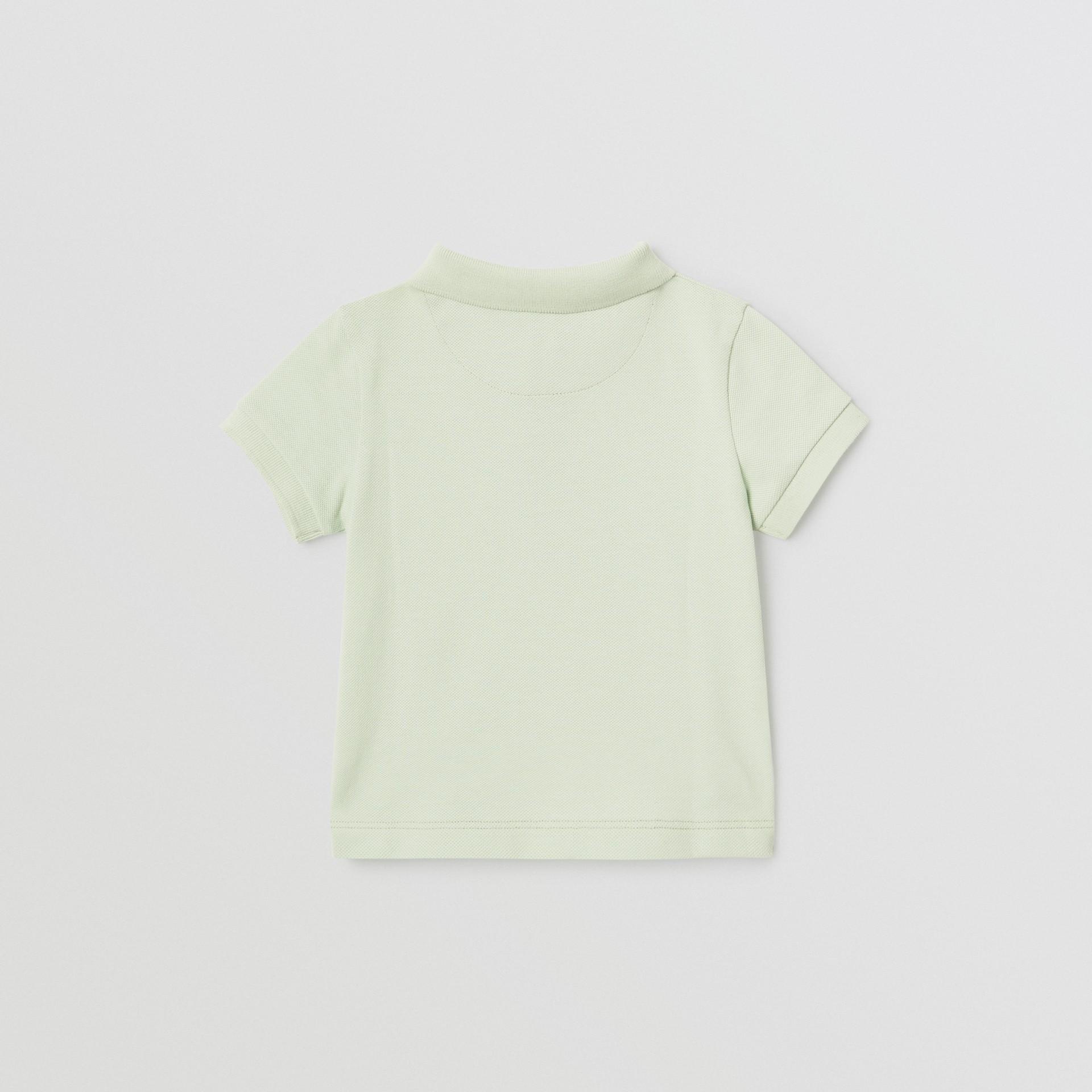 Polo in cotone piqué con iconico motivo a righe sulla paramontura (Menta Pallido) - Bambino | Burberry - immagine della galleria 3
