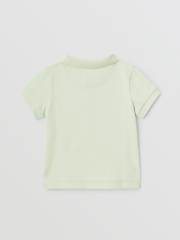 Icon Stripe Placket Cotton Piqué Polo Shirt in Pale Mint - Children | Burberry - cell image 3