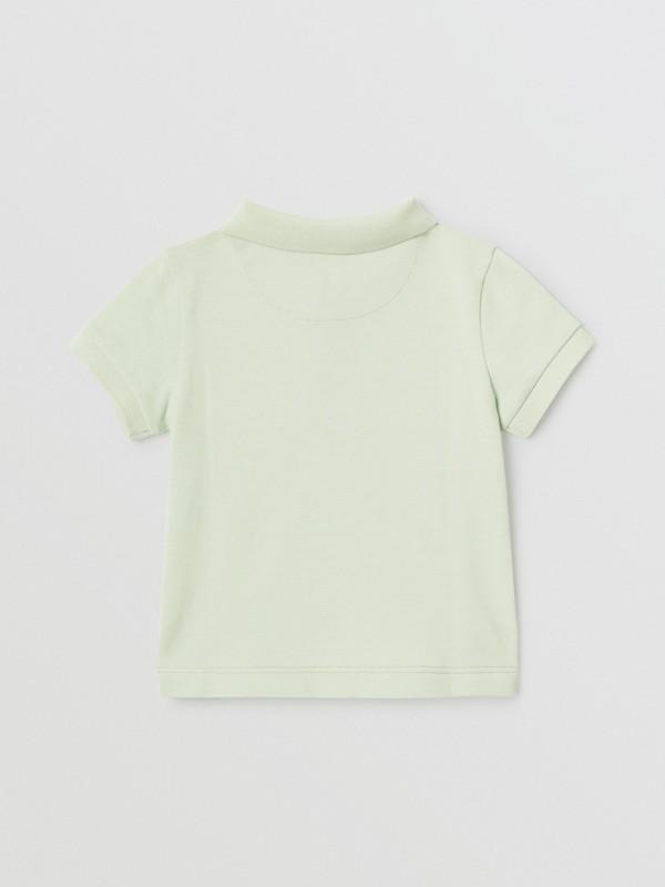 Polo in cotone piqué con iconico motivo a righe sulla paramontura (Menta Pallido) - Bambino | Burberry - cell image 3