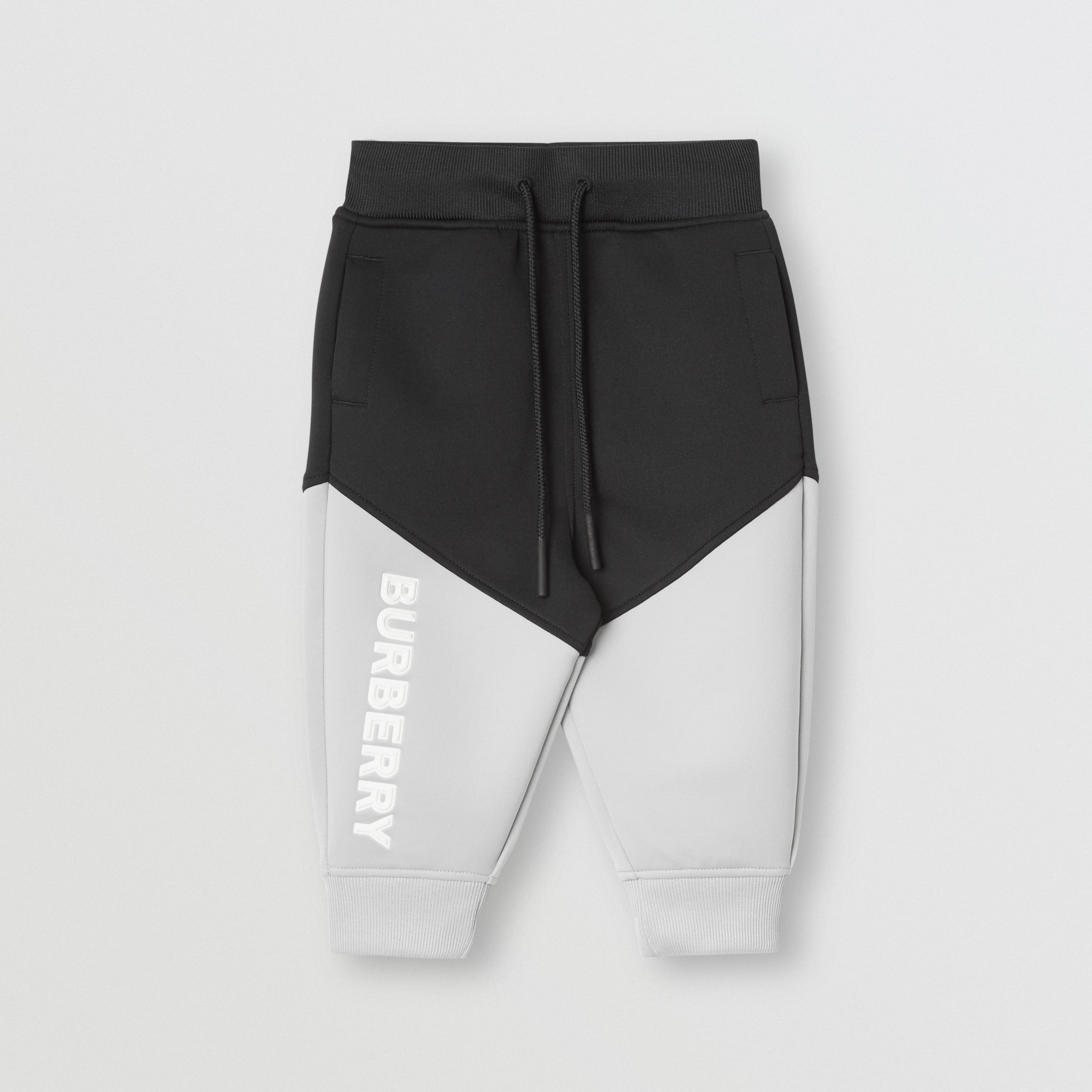 Logo Print Two-tone Stretch Jersey Jogging Pants in Black | Burberry - 1