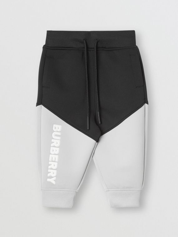 Logo Print Two-tone Stretch Jersey Trackpants in Black