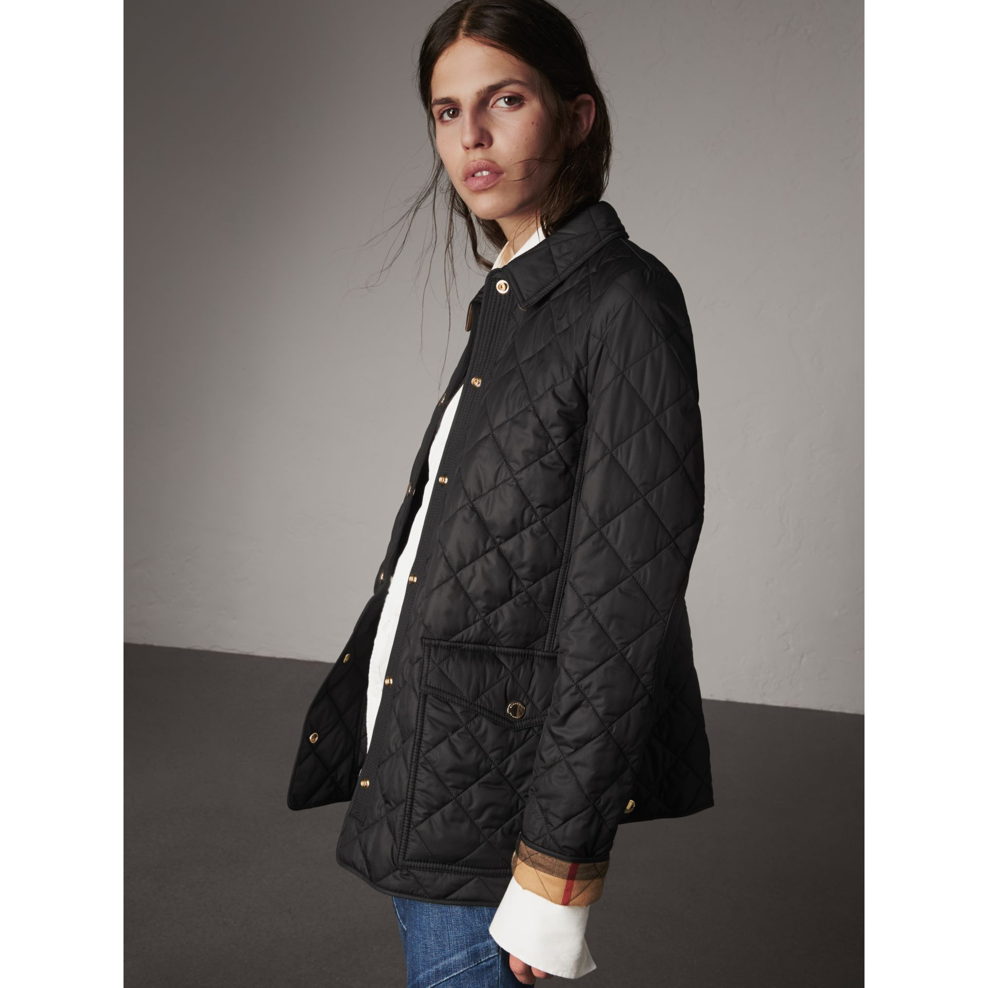 Burberry Check Detail Diamond Quilted Jacket In Black Modesens