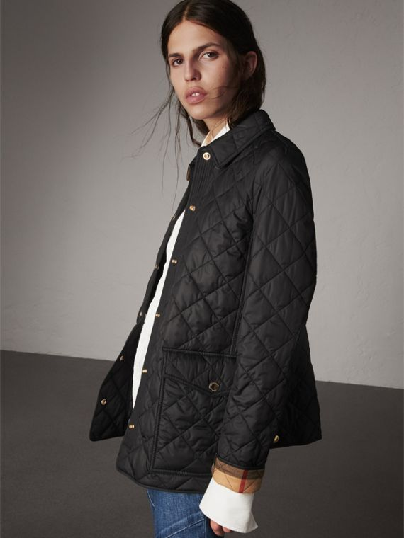 Check Detail Diamond Quilted Jacket in Black