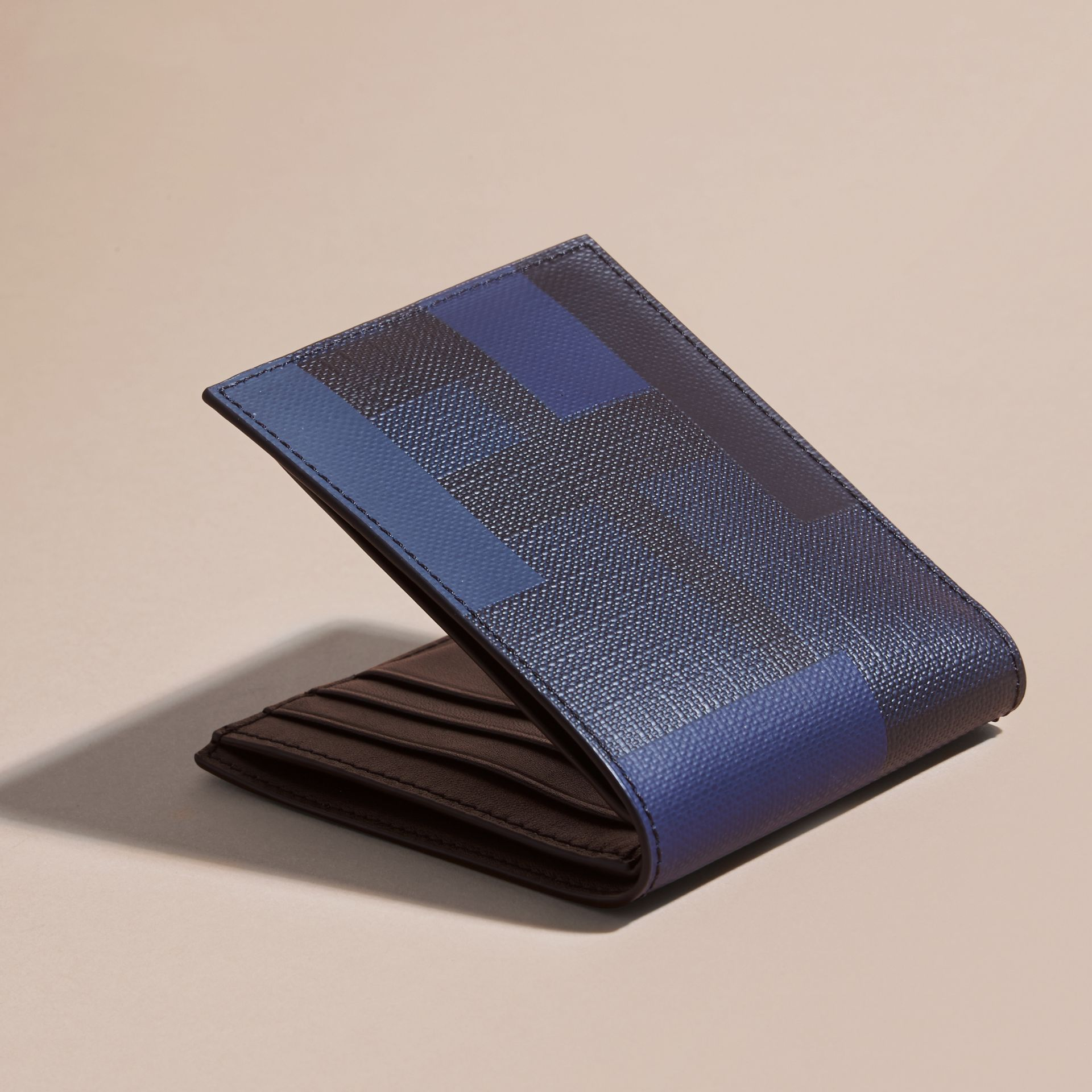 Navy/geometric Colour Block London Check Folding Wallet - gallery image 3