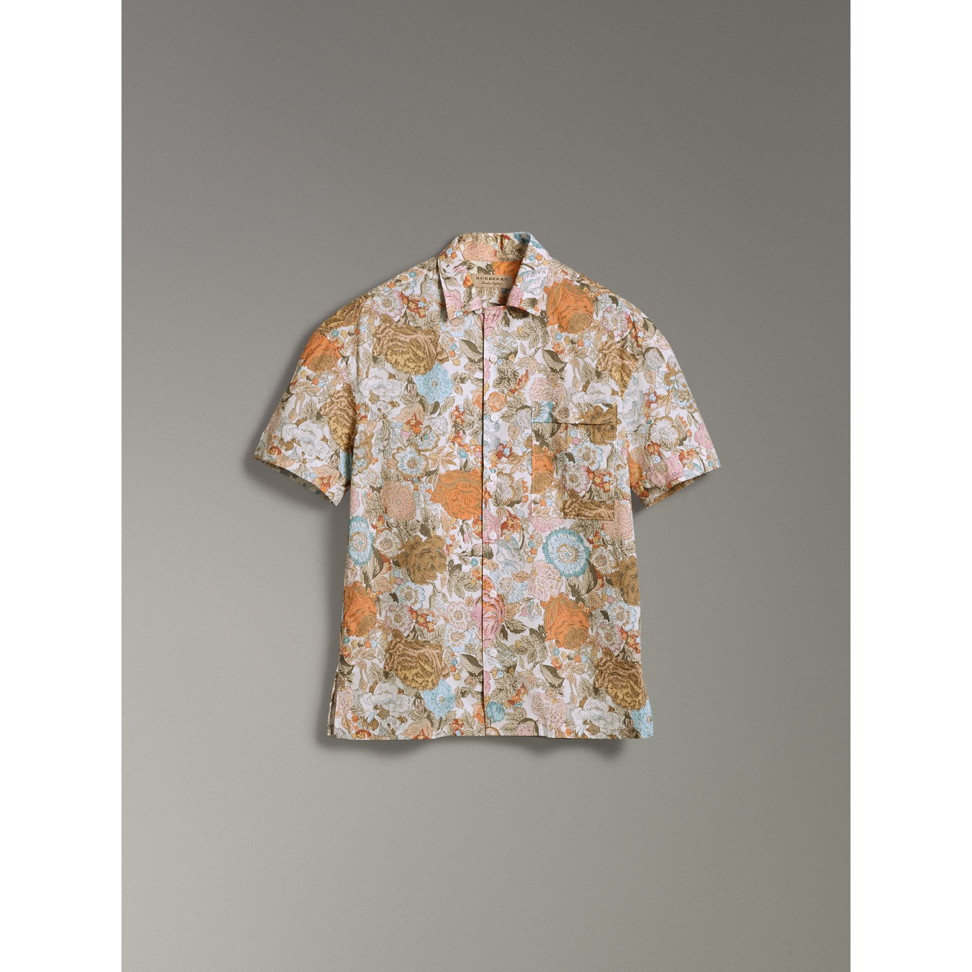 Short-sleeve Floral Print Cotton Shirt in Bright Orange - Men | Burberry United Kingdom - gallery image 3