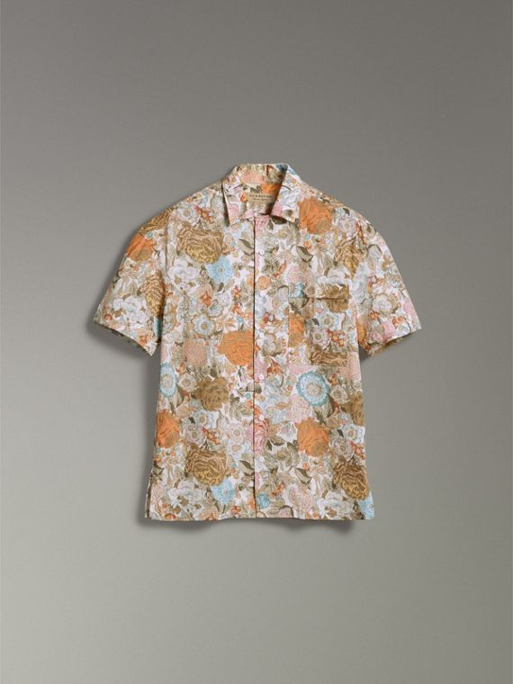 Short-sleeve Floral Print Cotton Shirt in Bright Orange - Men | Burberry United Kingdom - cell image 3