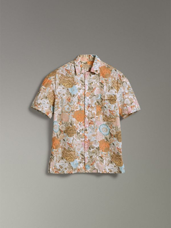 Short-sleeve Floral Print Cotton Shirt in Bright Orange - Men | Burberry Hong Kong - cell image 3