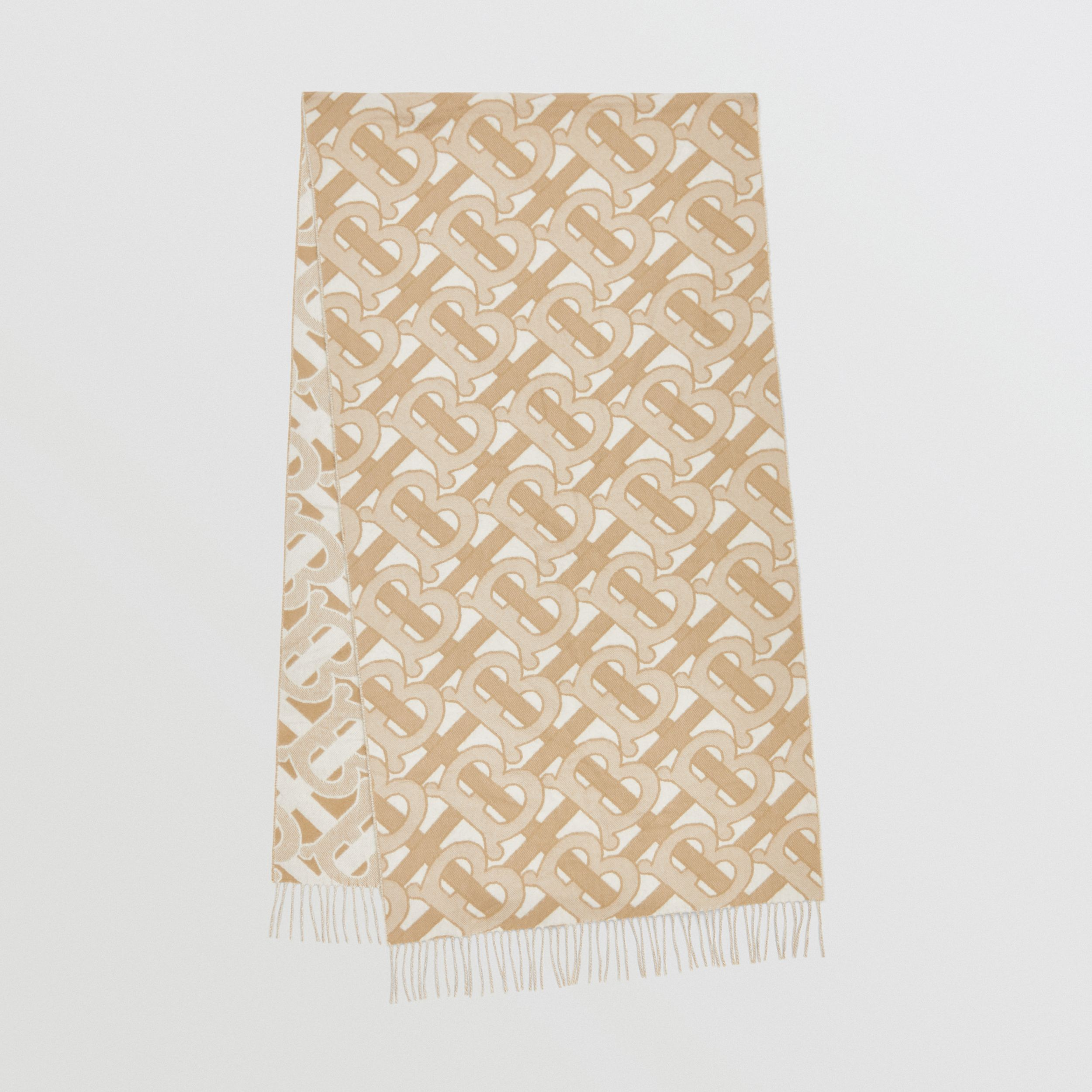 Monogram Cashmere Jacquard Scarf in Light Sand | Burberry Australia - 1