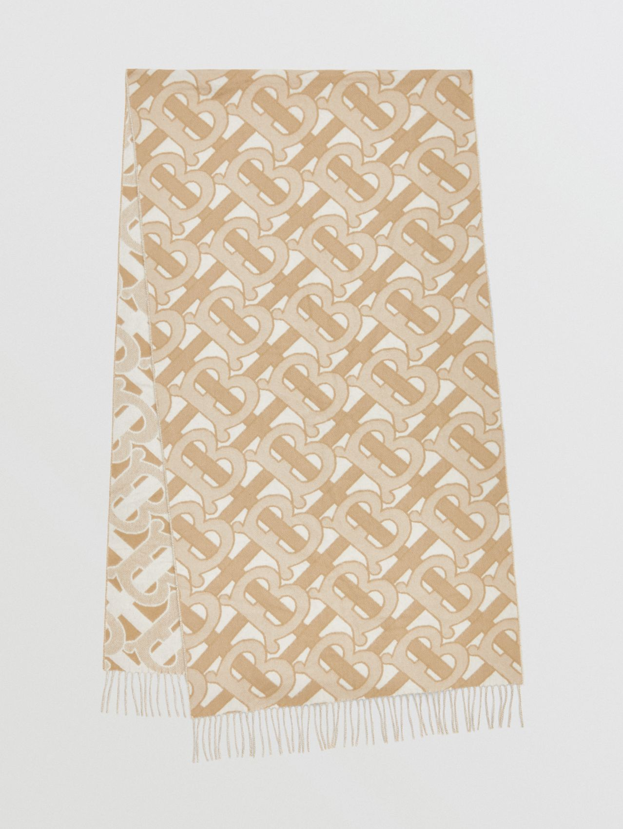 Monogram Cashmere Jacquard Scarf in Light Sand