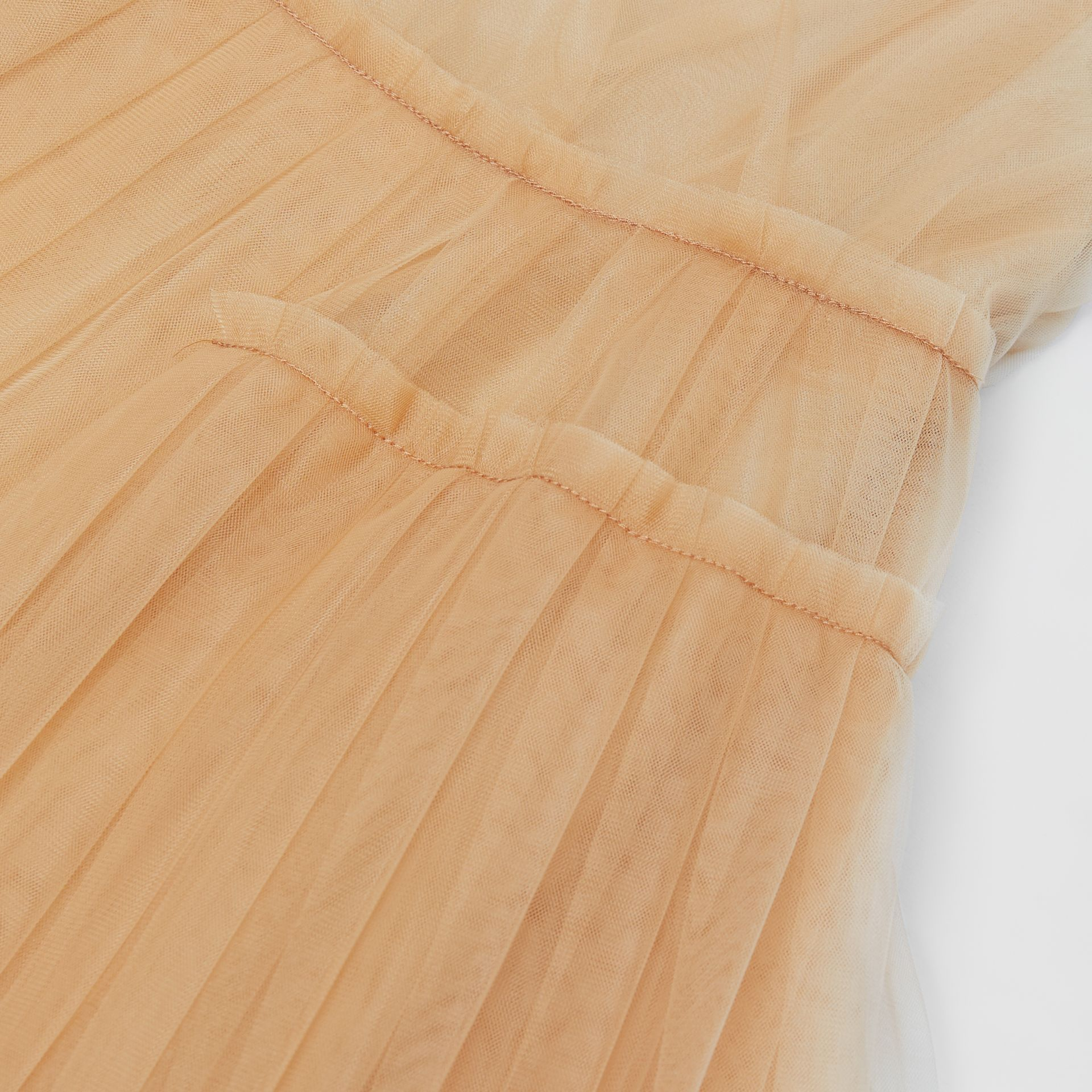 Tulle Tiered Dress in Oyster Beige | Burberry - gallery image 1