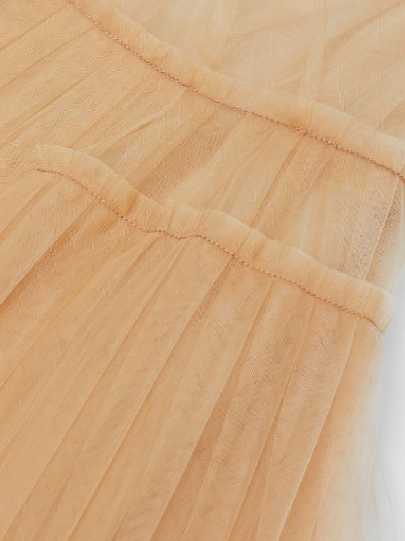 Tulle Tiered Dress in Oyster Beige | Burberry United Kingdom - cell image 1