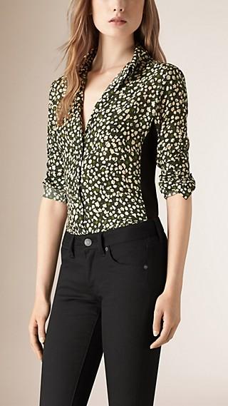 Abstract Floral Print Silk Shirt