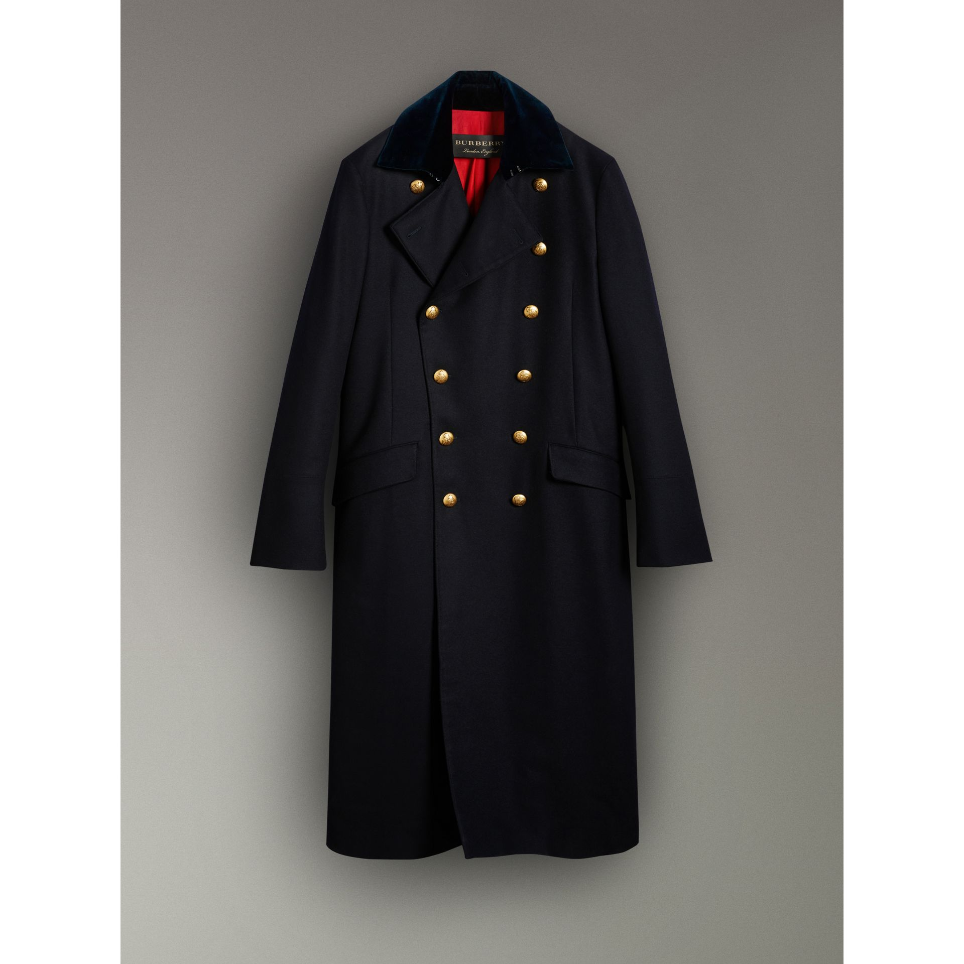 Velvet Collar Doeskin Wool Military Coat in Dark Navy | Burberry - gallery image 3