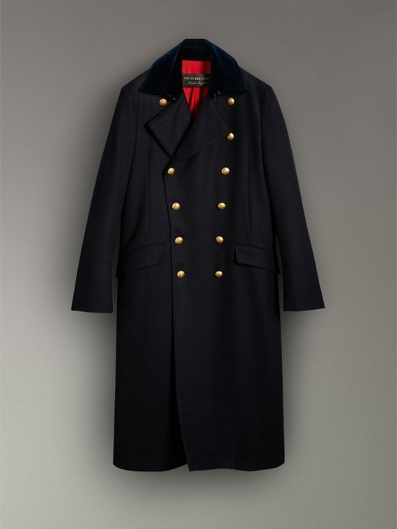 Velvet Collar Doeskin Wool Military Coat in Dark Navy | Burberry - cell image 3