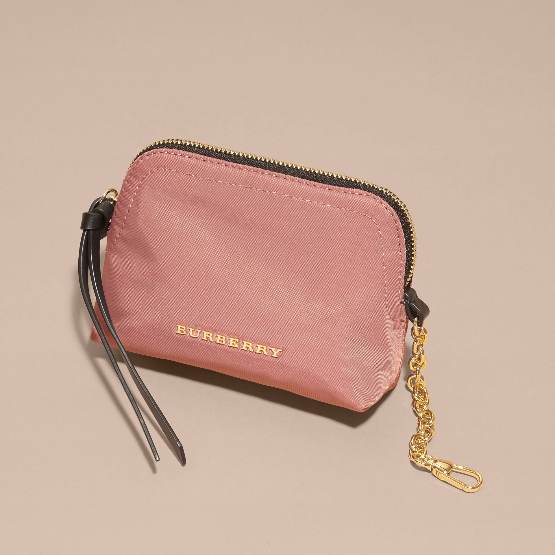 Mauve pink Small Zip-top Technical Nylon Pouch Mauve Pink - gallery image 3