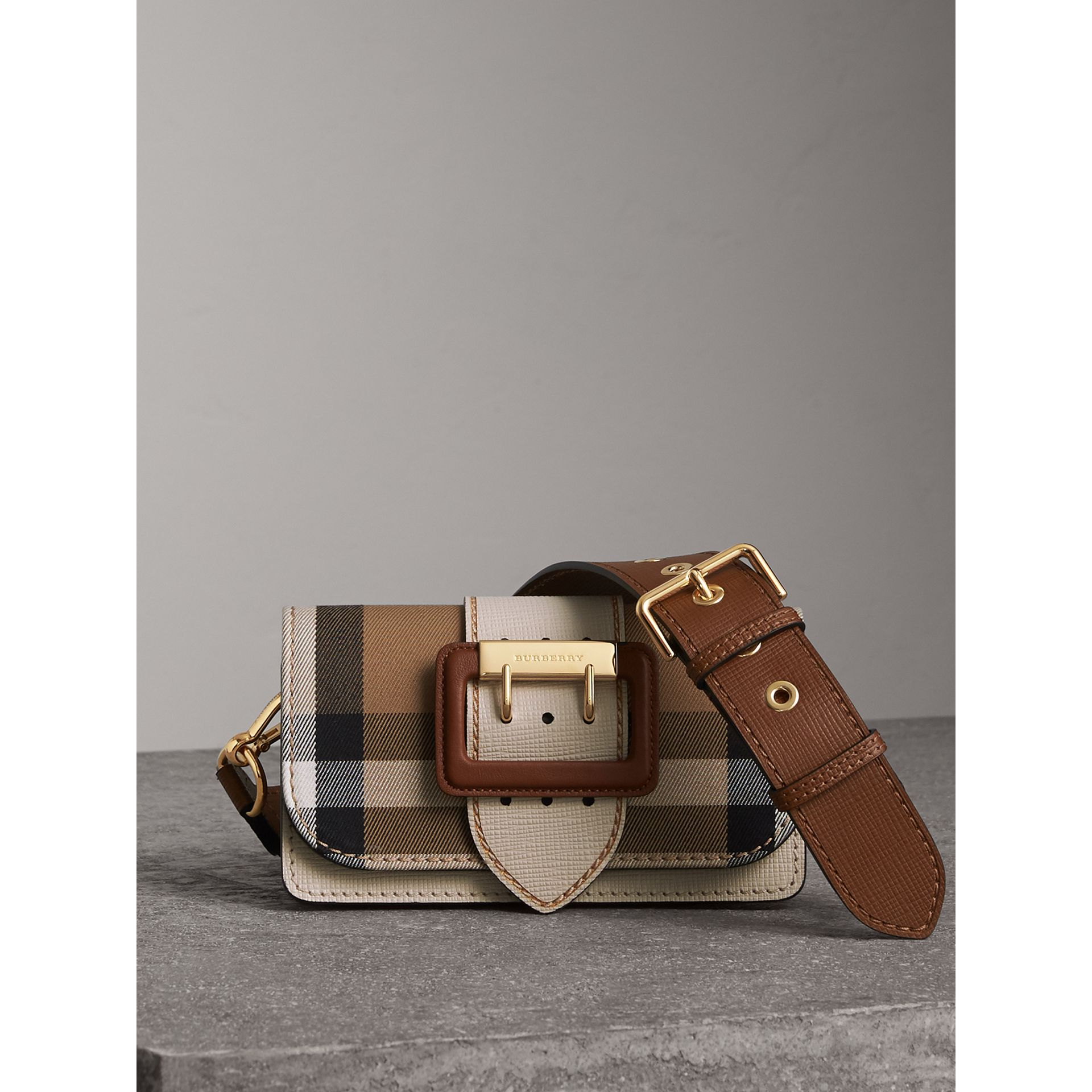 The Small Buckle Bag in House Check and Leather in Limestone - Women | Burberry - gallery image 0