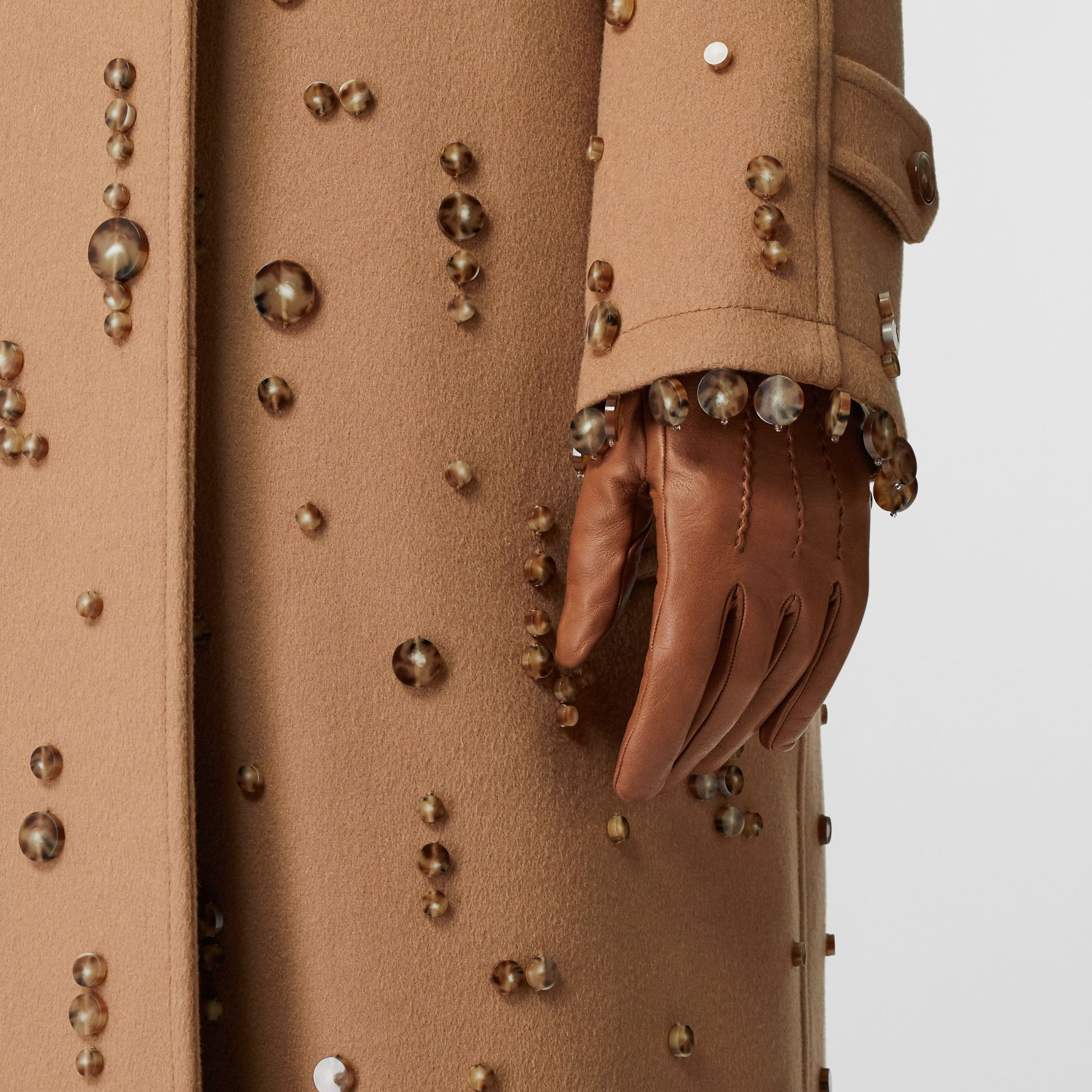 Embellished Wool Cashmere Car Coat in Camel - Women | Burberry - gallery image 4