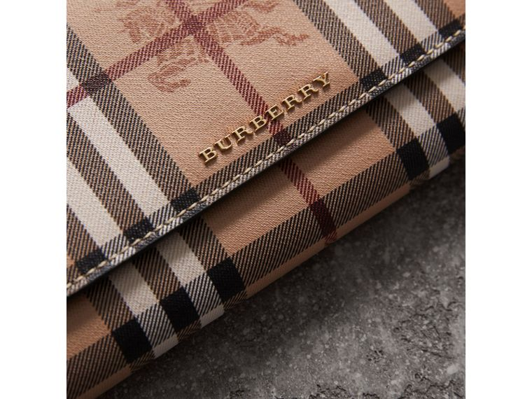 Leather Trim Haymarket Check Wallet with Chain in Black - Women | Burberry - cell image 1