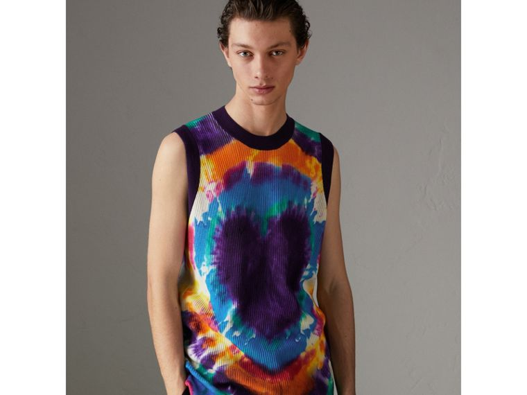 Tie-dye Print Cashmere Vest in Multicolour | Burberry - cell image 4