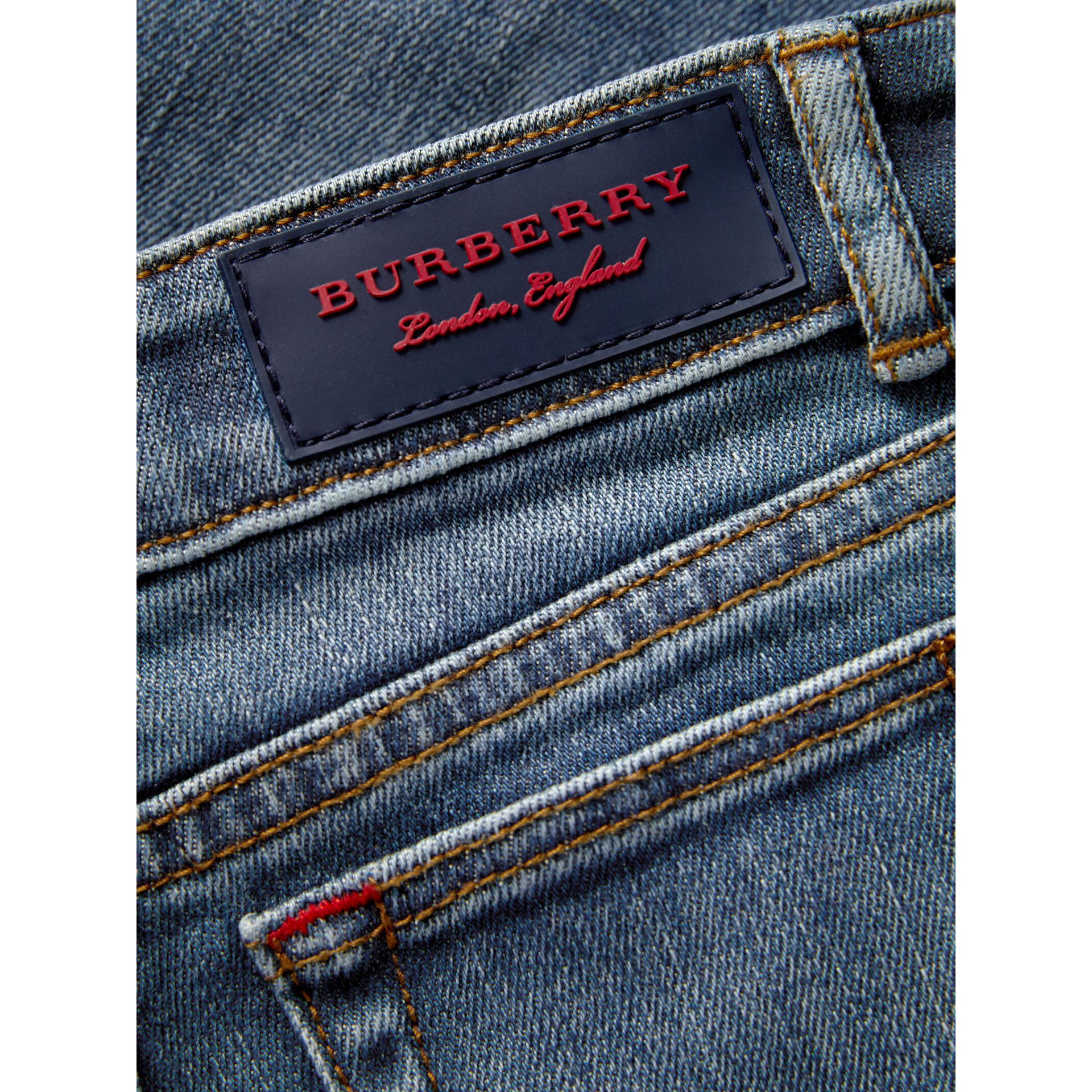 Relaxed Fit Stretch Denim Jeans in Mid Indigo | Burberry United Kingdom - gallery image 1